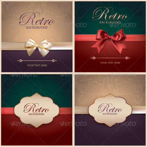 GraphicRiver Set of Vintage Card Backgrounds and Frames 7262453