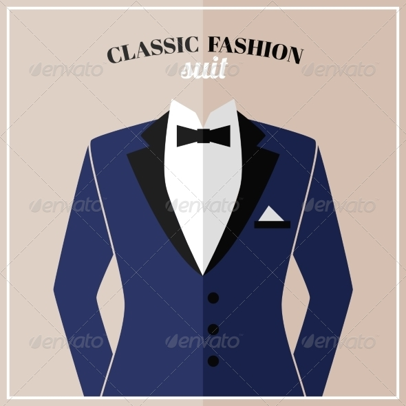 GraphicRiver Classic Tuxedo Suit with Bow 7262887