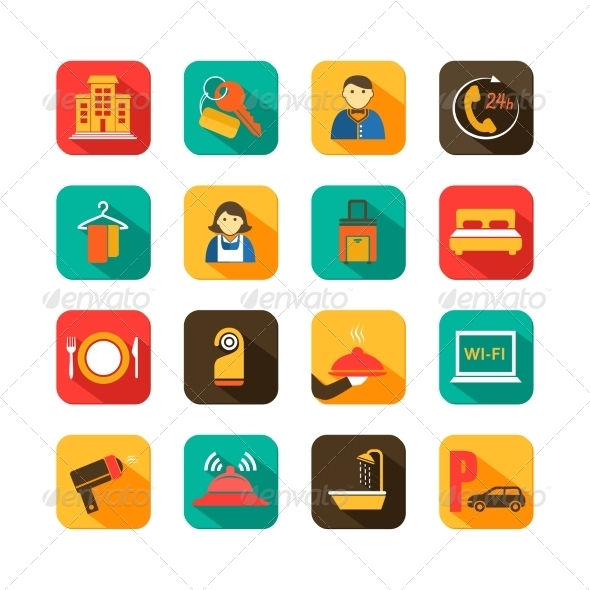 GraphicRiver Hotel Travel Flat Icons Set 7262930