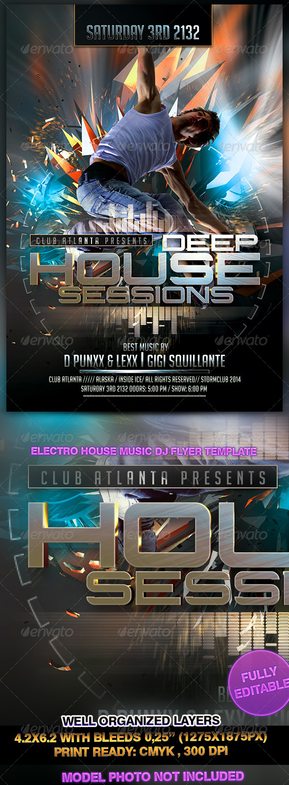 GraphicRiver Electro House Music DJ Flyer Template 7263007