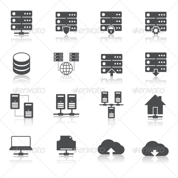 GraphicRiver Hosting Technology Pictograms Set 7263032