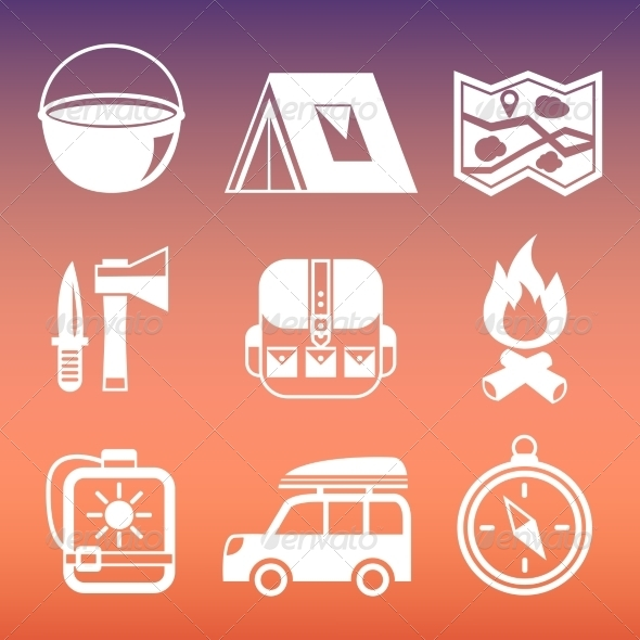 GraphicRiver Outdoors Camping Pictograms Collection 7263076
