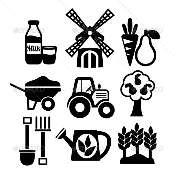 GraphicRiver Farming Harvesting and Agriculture Icons Set 7263082