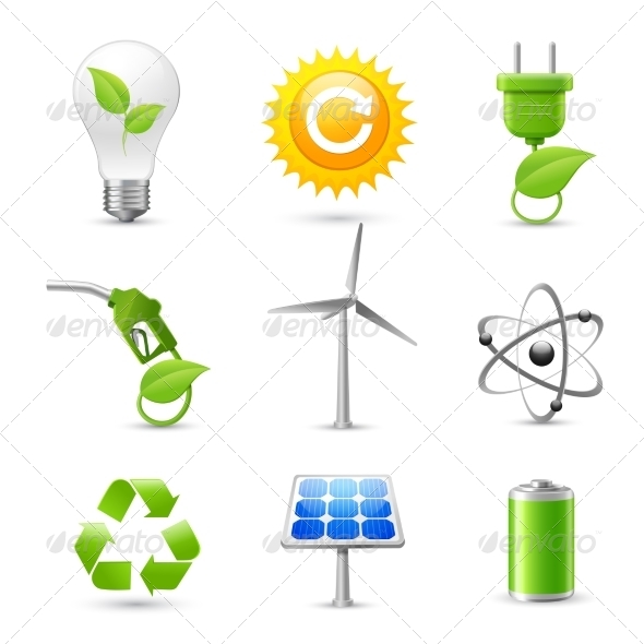 GraphicRiver Energy and Ecology Realistic Icons Set 7263111