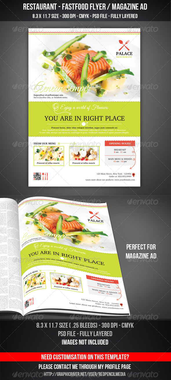 GraphicRiver Restaurant FastFood Flyer Magazine AD 7263357