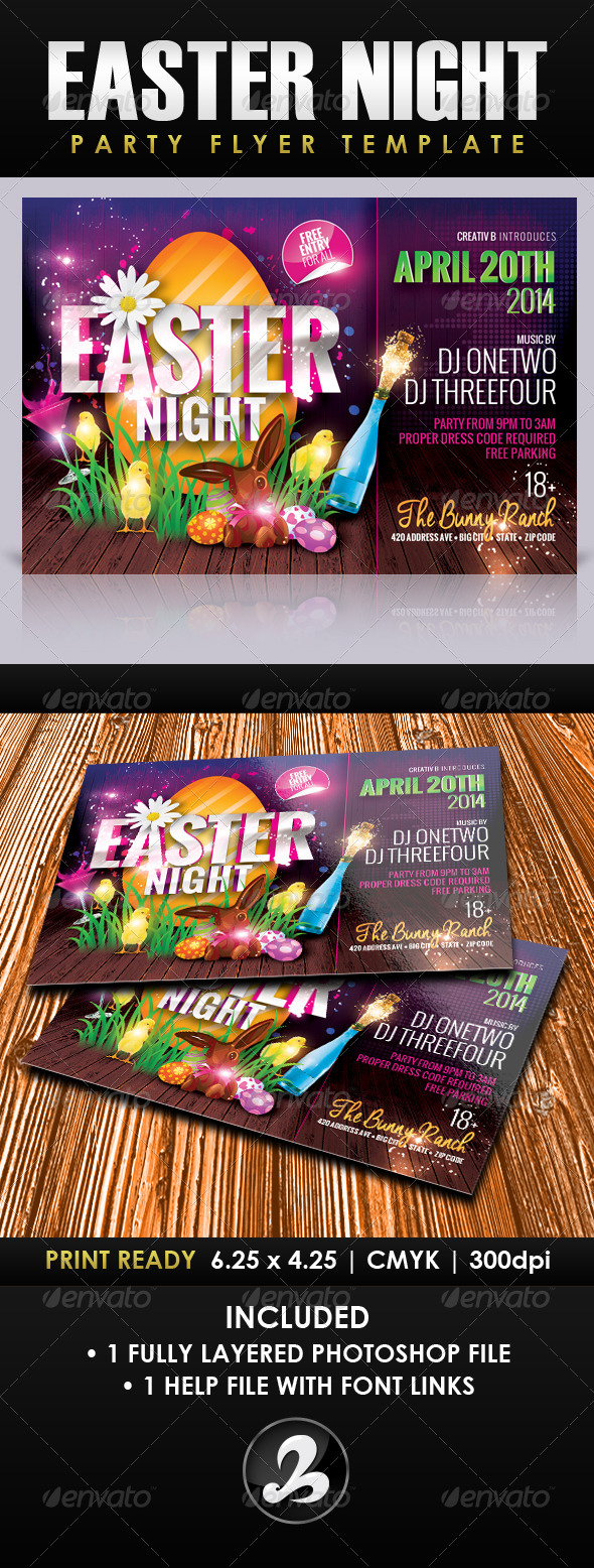 GraphicRiver Easter Night Party Flyer Template 7241078