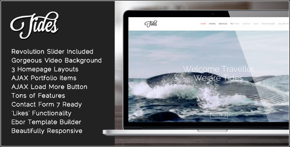 ThemeForest Tides Fullscreen Video One-Page WordPress Theme 7263600
