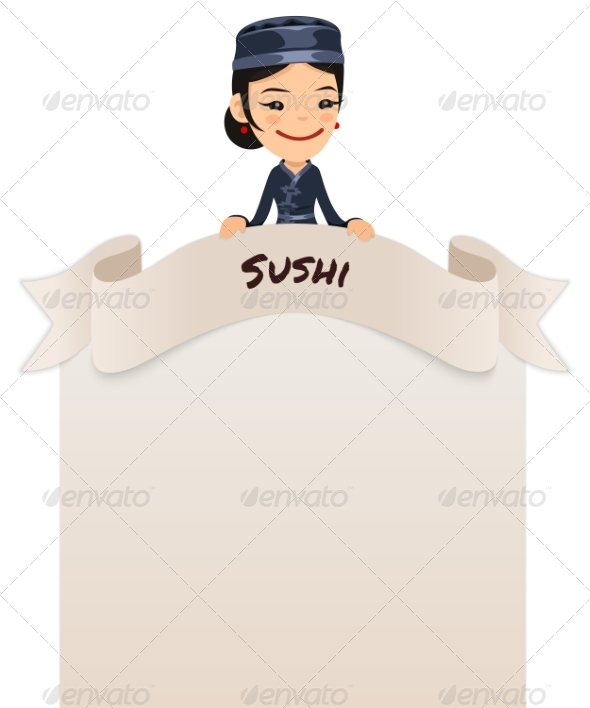 GraphicRiver Asian Female Chef Looking at Blank Menu on Top 7263879