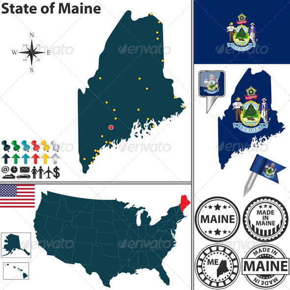 GraphicRiver Map of State Maine USA 7263943