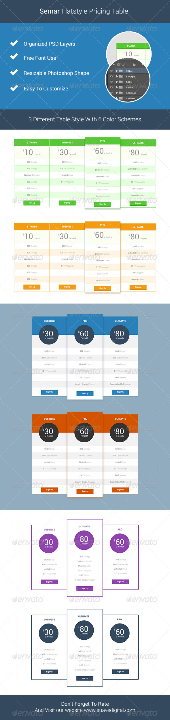 GraphicRiver Semar Flatstyle Pricing Table 7264315