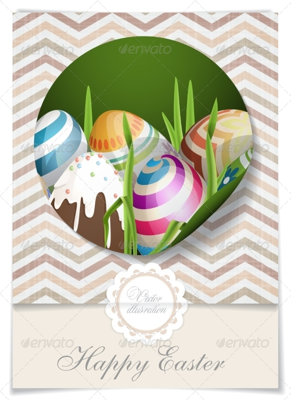 GraphicRiver Easter Background with Eggs in Grass 7264355