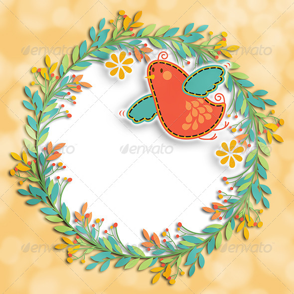GraphicRiver Wreath Bird Background Layout 7264602