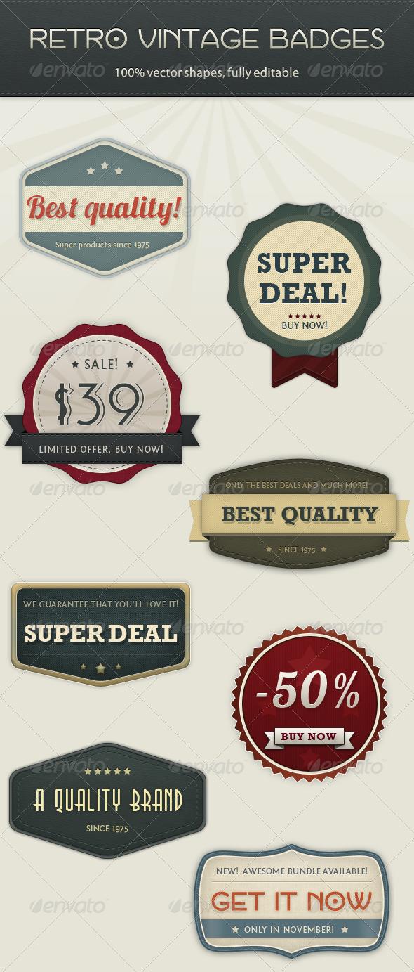 Graphic River Retro Vintage Badges Web Elements -  Badges & Stickers 758395