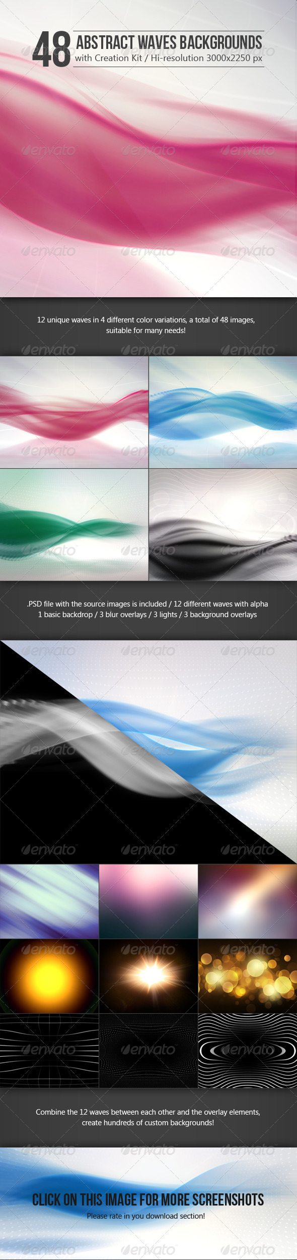 GraphicRiver 48 Abstract Waves Backgrounds with Creation Kit 7239925