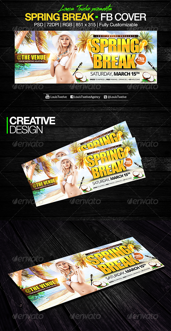 GraphicRiver Spring Break Facebook Cover 7264640