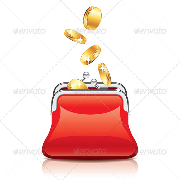 GraphicRiver Red Purse and Coins 7264811