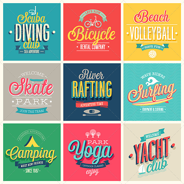 GraphicRiver Summer Sports Set of Labels and Emblems 7264824