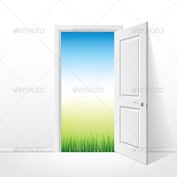GraphicRiver Opened White Door and Nature 7264851