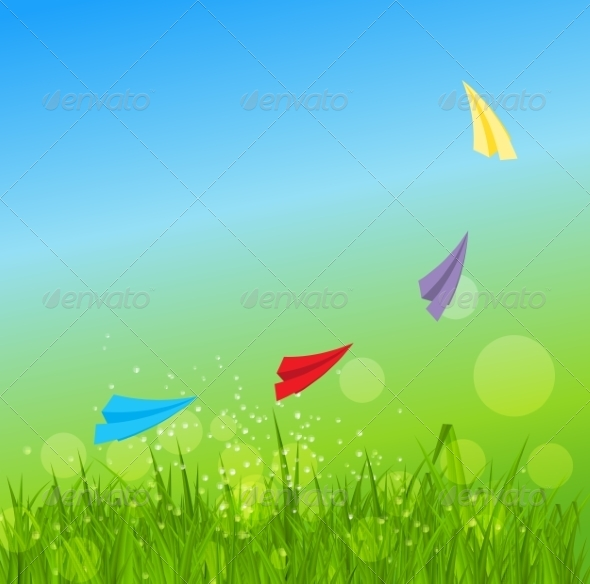 GraphicRiver Summer Abstract Background with Grass 7264987