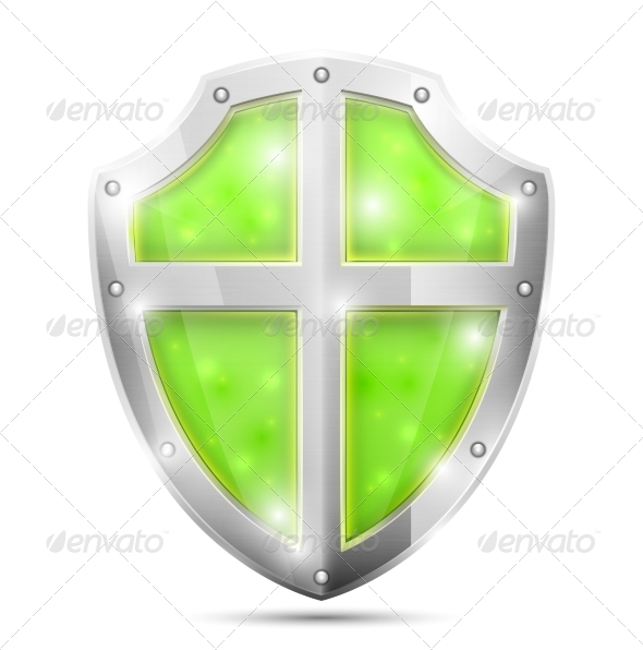 GraphicRiver Glossy Magic Green Shield Icon 7265131