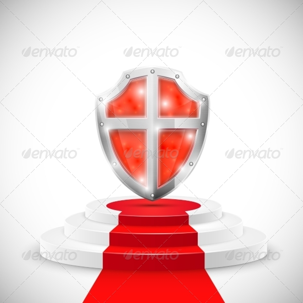 GraphicRiver Red Glossy Shield on Pedestal 7265176