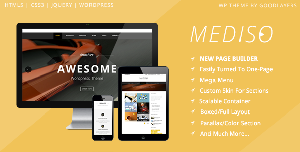 ThemeForest Mediso Corporate One-Page Blogging WP Theme 7265623