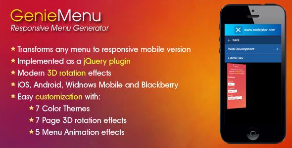 CodeCanyon GenieMenu Responsive Menu Generator 7265649