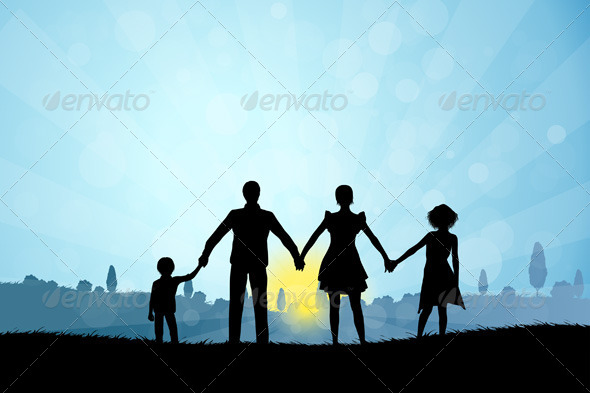 GraphicRiver Nature Background with Family Silhouette 7265849