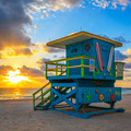 lifeguard tower at sunrise - PhotoDune Item for Sale