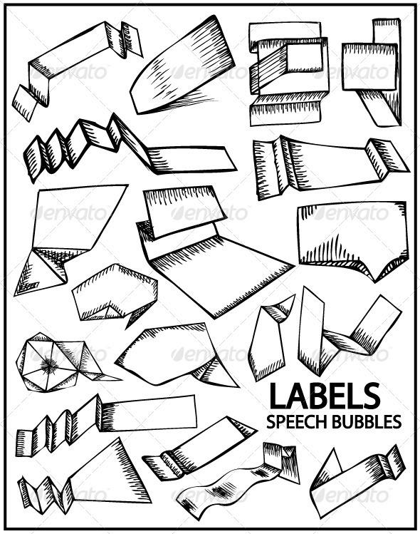 Graphic River Hand drawn labels and speech bubbles Vectors -  Decorative  Decorative Symbols 758478