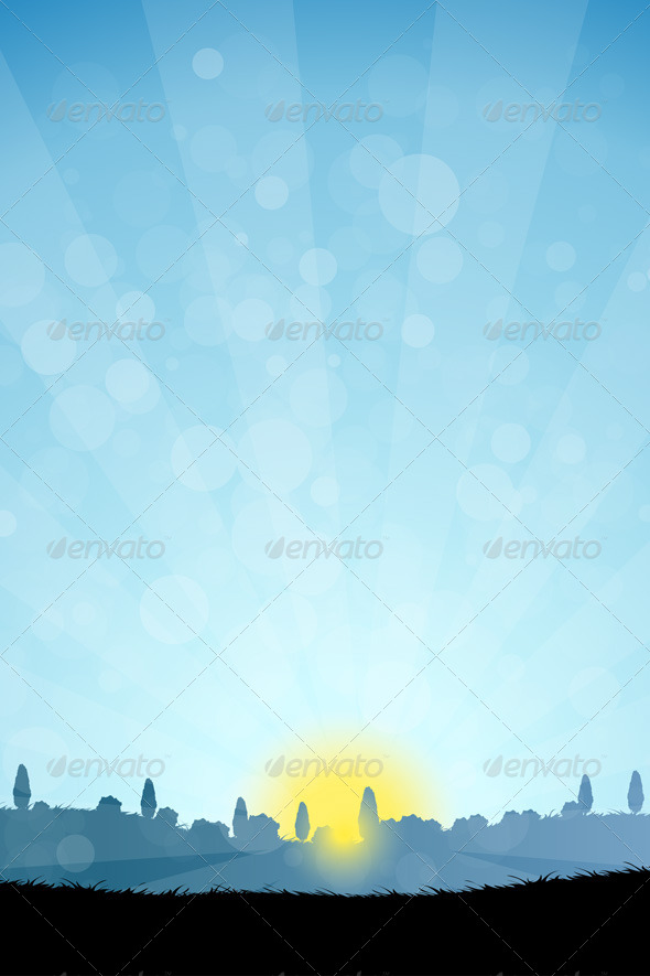GraphicRiver Landscape with Tree Silhouettes 7266792