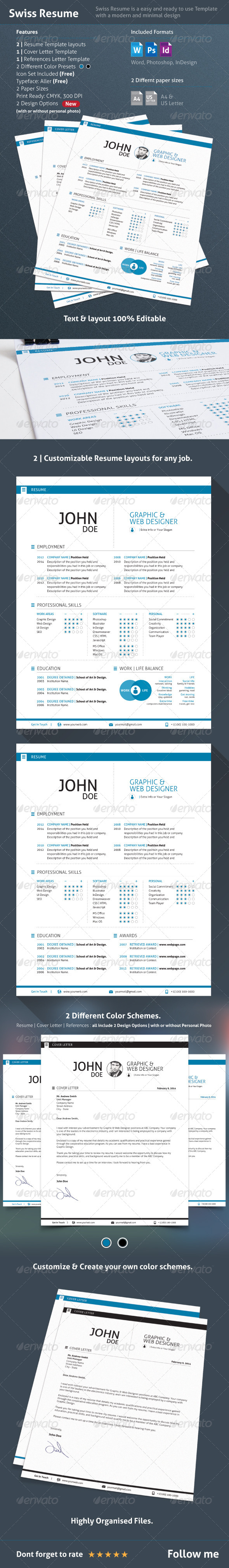 GraphicRiver 3 Piece Swiss Style Resume CV 7241774