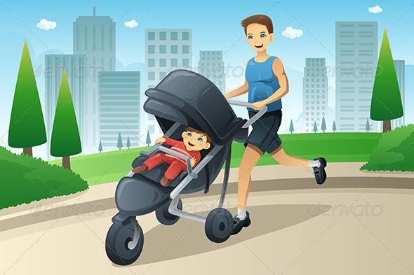 GraphicRiver Father Jogging While Pushing a Stroller 7268391