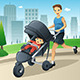 Father Jogging While Pushing a Stroller - GraphicRiver Item for Sale