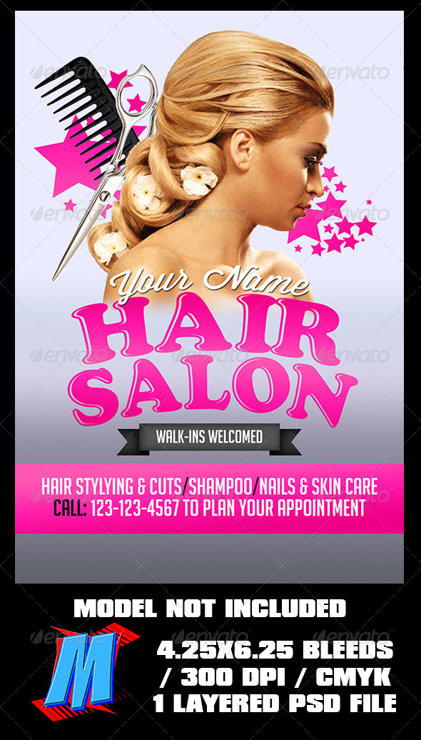 GraphicRiver Hair Salon Flyer Template 7268706