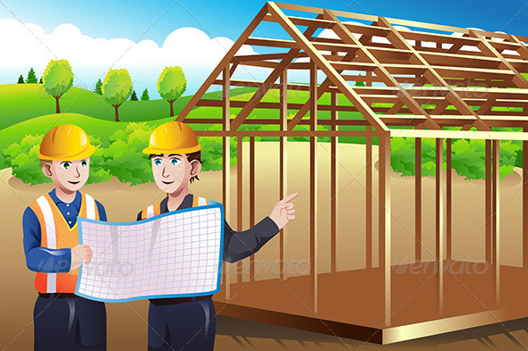 GraphicRiver Construction Worker Discussing Blueprint 7269028