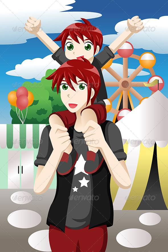 GraphicRiver Father and Son at Amusement Park 7269052