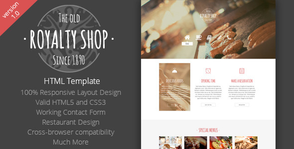 ThemeForest Royalty Shop Responsive HTML Template 7269216