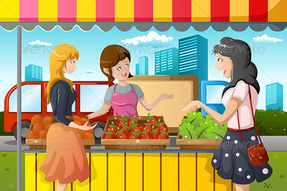 GraphicRiver People Shopping in Farmers Market 7269576