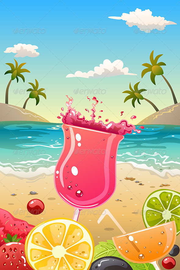 GraphicRiver Summer Poster with Fresh Fruit and Drinks 7269577