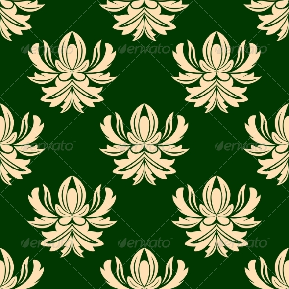 GraphicRiver Green and Beige Seamless Arabesque Pattern 7269637