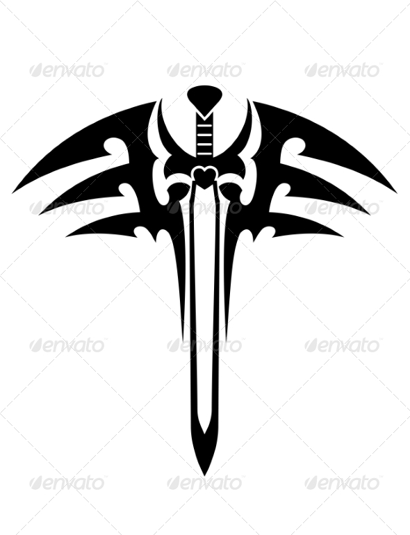 GraphicRiver Tribal Tattoo with Sword 7269649