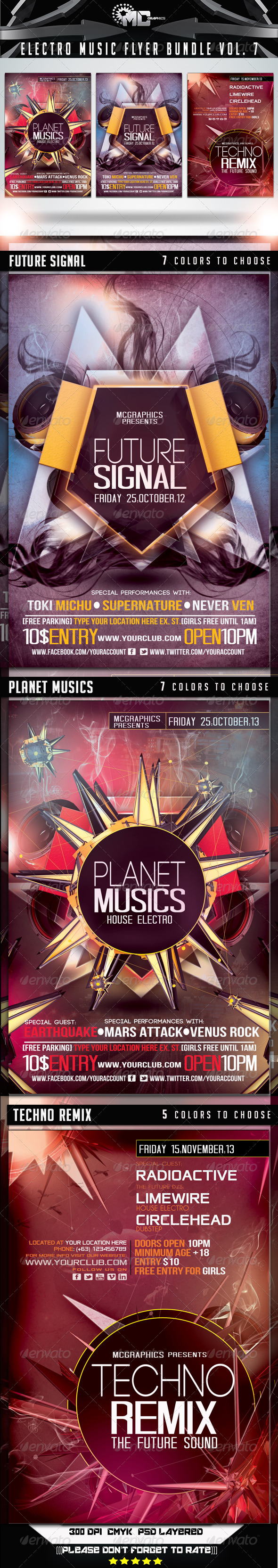 GraphicRiver Electro Music Flyer Bundle Vol 7 7269760