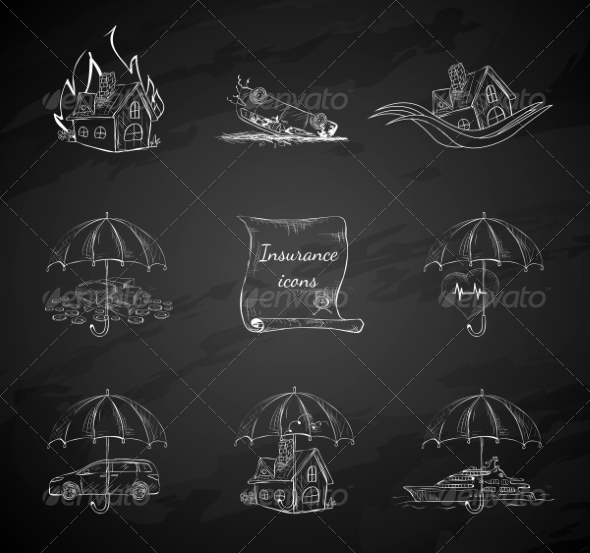 GraphicRiver Chalkboard Insurance Security Icons 7270416