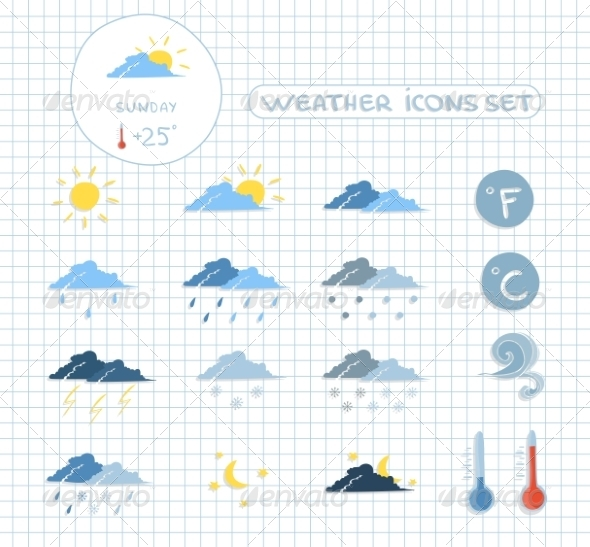 GraphicRiver Weather Forecast Icons Set 7270511