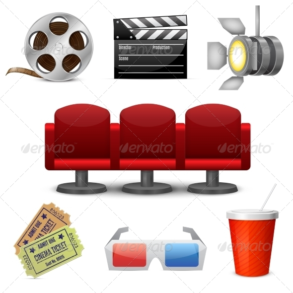 GraphicRiver Cinema Entertainment Decorative Icons 7270546