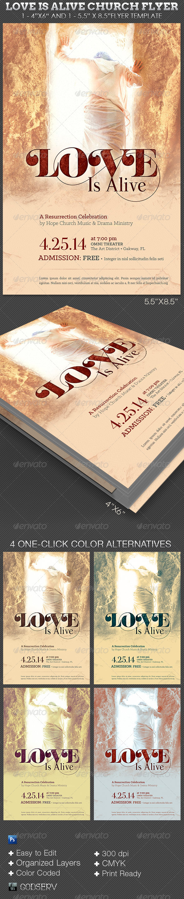 GraphicRiver Love Is Alive Church Flyer Template 7270639