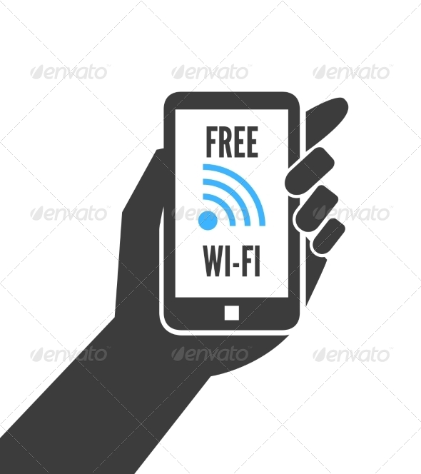 GraphicRiver Hand Holding Smartphone with Free Wifi 7270659