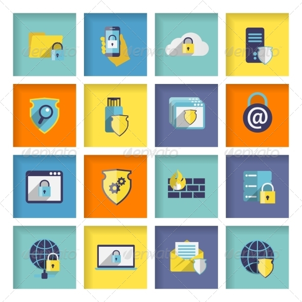 GraphicRiver Information Technology Security Icons Set 7270663