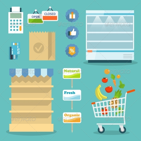 GraphicRiver Supermarket Food Shopping Internet Concept 7270665